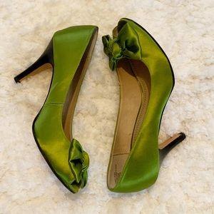 EUC BP heels Nordstrom Elegant satin and leather